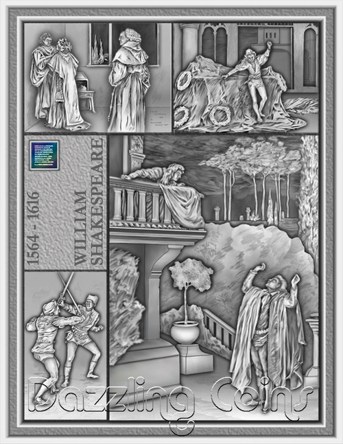 3 oz.Shakespeare ROMEO AND JULIET NanoJems®crystal $15 2014 Niue