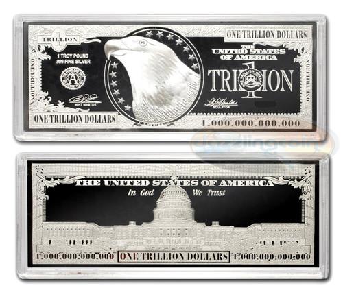 12 ounces Pure Silver Bar Trillion Dollar Design