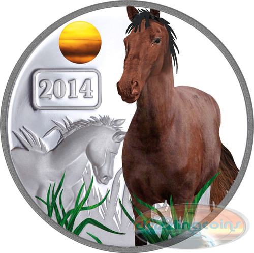 2014 Tokelau 1 Oz $5 Silver Year of the Horse Color Proof