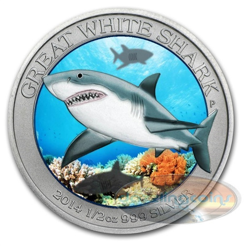 Great White Shark Color II .999 Silver Coin
