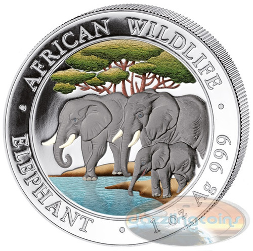 2013 1 oz Silver Coin - Somalia African Elephant - Colorized