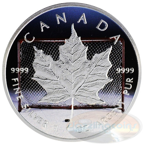 1 oz Maple Leaf Hockey~Silver.9999 $5 CA 2014