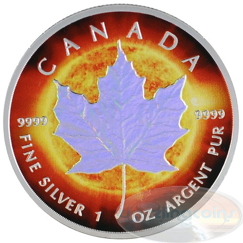 1oz Maple Leaf Hologram~Sun~ Ag .9999 $5 CA 2014