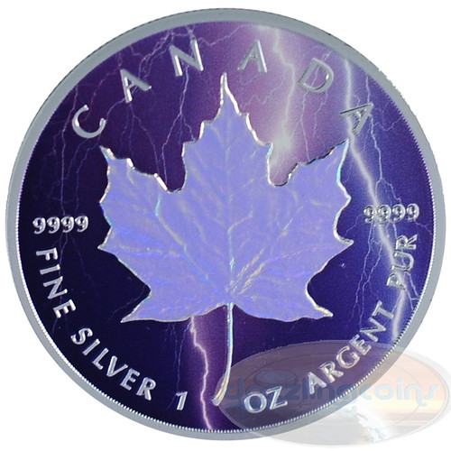 1oz Maple Leaf Hologram~Lightning~ Ag .9999 $5 CA 2014