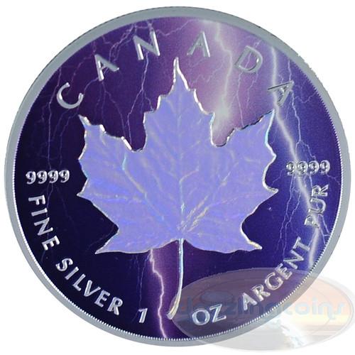 1oz Maple Leaf Hologram~Lightning~ Ag .9999 $5 CA 2014