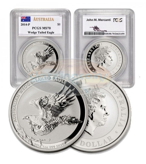 2014-P Australia PCGS MS 70 Wedge Tailed Eagle COA Mercanti Signed
