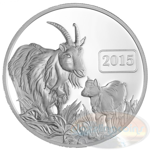2015 Tokelau 1 Oz .999 Silver Year of the Goat $5 Proof Coin