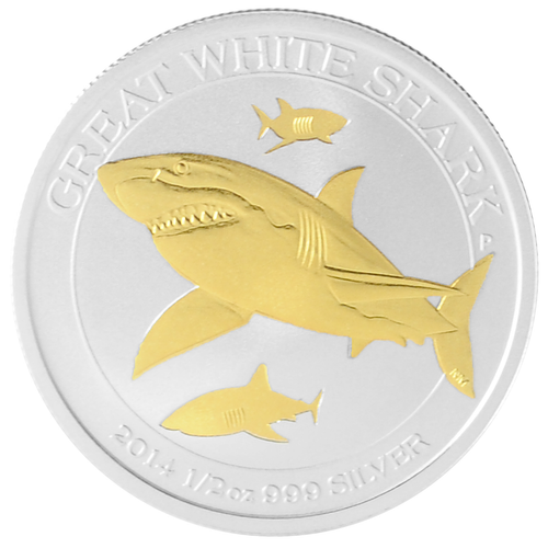 Great White Shark Gilded .999 Silver Coin