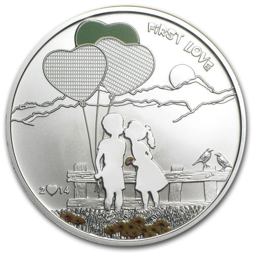"""5$ Cook Islands silver coin """" Paint your coin """" First Love 2014"""
