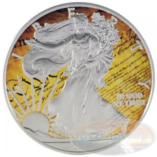 2014 1 oz Silver American Eagle Color America`s Constitution