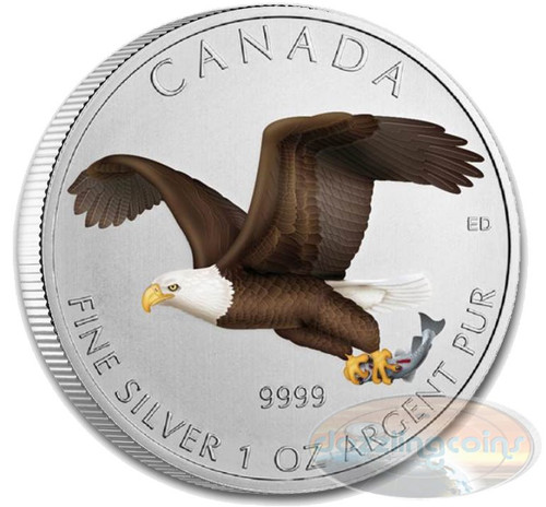 1 OZ Birds of Prey 2014 - Bald Eagle $5 Silver .9999 color