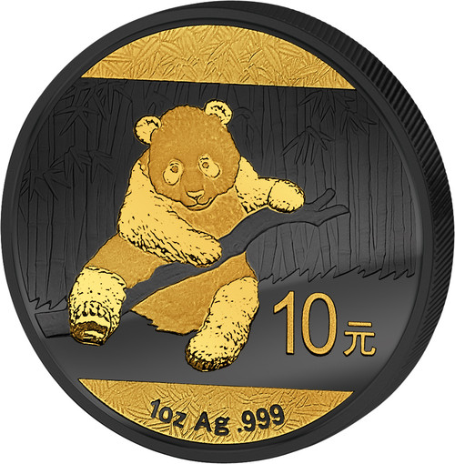 Golden Enigma - 2014 1 oz Silver Coin -The Panda - Silver & Ruthenium & Gold Pl.