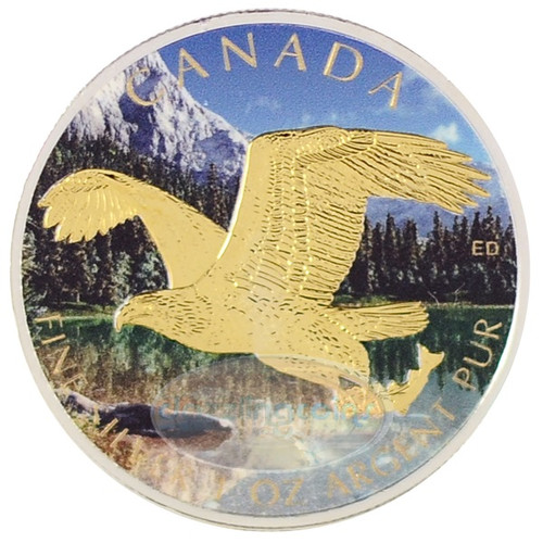 1 OZ Birds of Prey 2014 - Bald Eagle Gilded- Color $5 Silver .9999