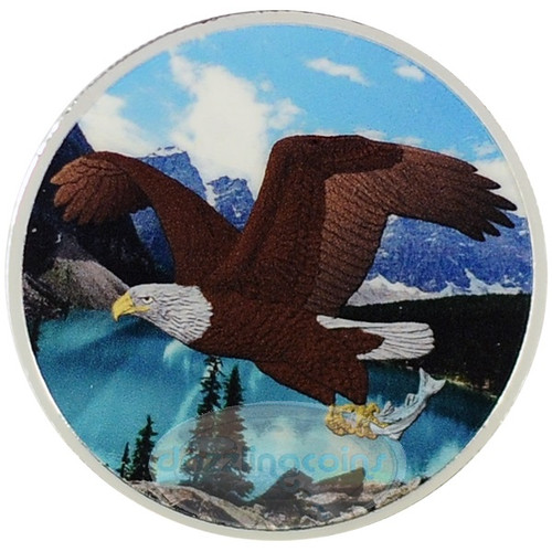 1 OZ Birds of Prey 2014 - Bald Eagle Color II $5 Silver .9999