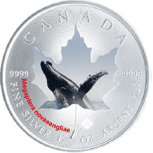 1 oz Maple Leaf Humpback Whale Theme ~ Silver .9999 $5 Canada 2015