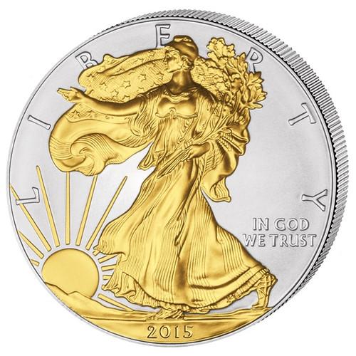 2015 1 oz Silver Eagles Coin 24 carat Gilded