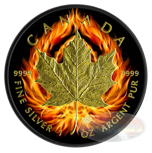"2014 1 oz $5 Silver Coin - Canadian ""Burning Maple Leaf"" Ruthenium/24K Gold"