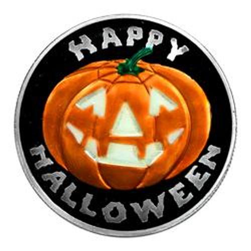 1 oz Silver Coin - Halloween -Glow In The Dark - Jack-O-Lantern
