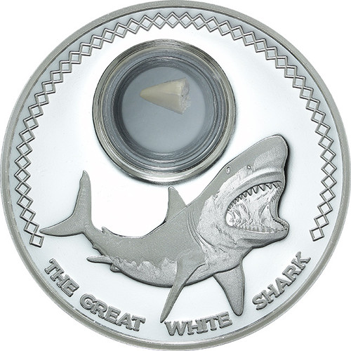 Fossilized shark's tooth 1 oz  $5 Silver  Coin Tokelau 2014