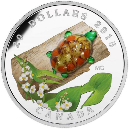 2015 1 oz $20 Silver Coin - Venetian Glass Turtle with Broadleaf Arrowhead Flower