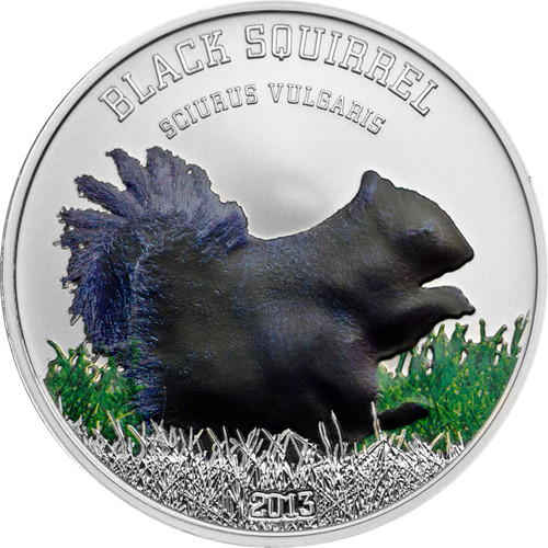 Black Squirrel Silver Proof Coin 5$ Cook Island 2013