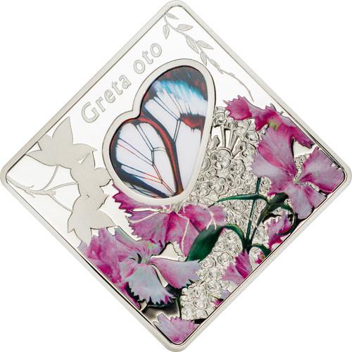 GRETA OTO Glasswing Butterfly Silver Coin 10$ Palau 2014