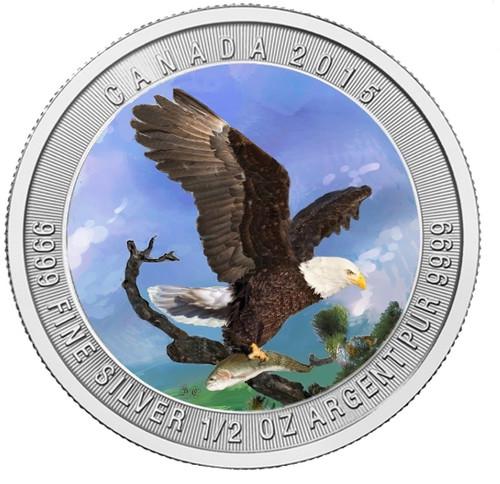 2015 Bald Eagle color  1/2 oz Silver Coin - Canada .9999 Silver
