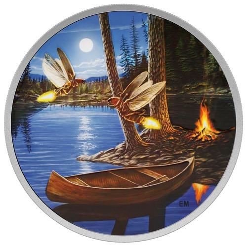 2015 $30 2 oz Silver Coin - Moonlight Fireflies - Glows in the Dark