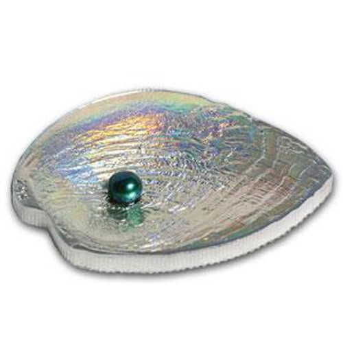 HALIOTIS IRIS PEARL II Oyster Shell Hologram Convex Silver Coin 5$ Palau 2012