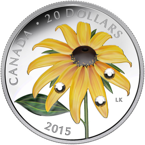 Black-Eyed Susan with Crystal Dew Drops ~ 2015 $20 1 oz Silver Coin