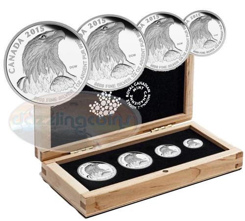 4x 1 oz Bald Eagle Fractional Silver Coin Set - Canada 2015 box