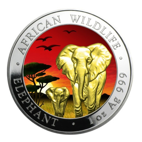 African Elephant in Sunset~1 oz Silver Coin - Somalia 2015 Color / 24K Gold