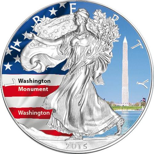 2015 1 oz Silver Eagle Coin - Washington Monument