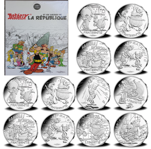 ASTERIX & OBELIX 12x 10 Euro Silver Coin set France 2015