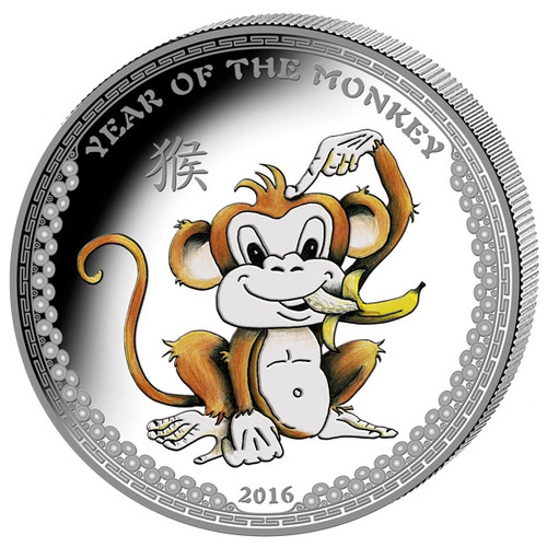 2016 Palau 1 Oz .999 Silver Year of the Monkey $5 Color HR Coin