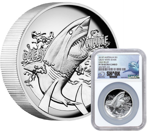 2015 1 oz Silver Coin - Australia Great White Shark High Relief - NGC PF70