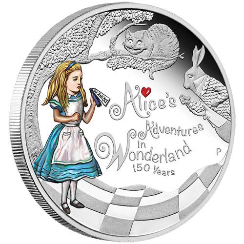 2015 1 oz Silver Coin - 150th Ann. of Alice's Adventures in Wonderland