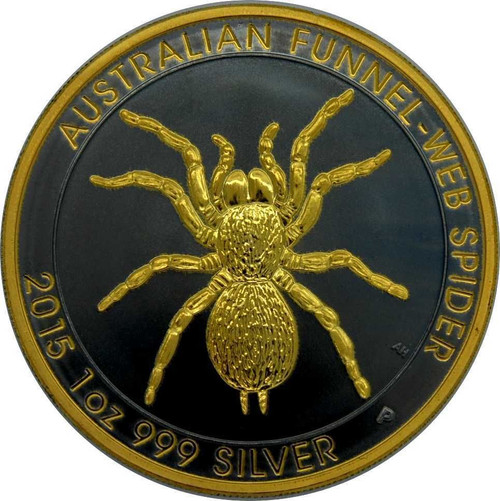 2015 1 oz. Aus Funnel-web Spider .999 Silver Ruthenium Gilded