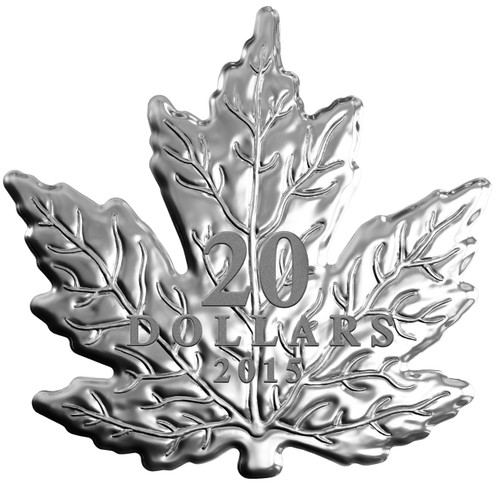 The Canadian Maple Leaf Shape Coin -2015 $20 1 oz Fine Silver Coin