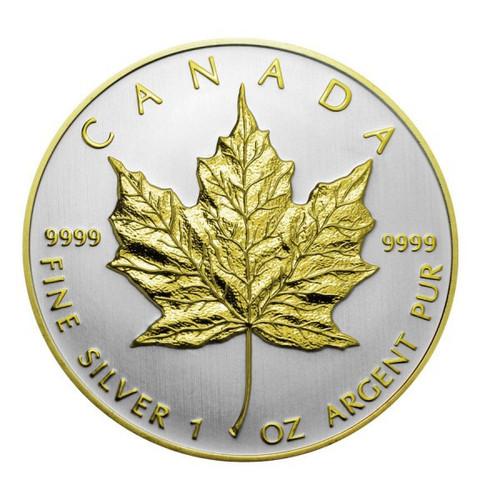 2013 1 oz Silver Maple Leaf Double Rim Gilded - 24K Gold