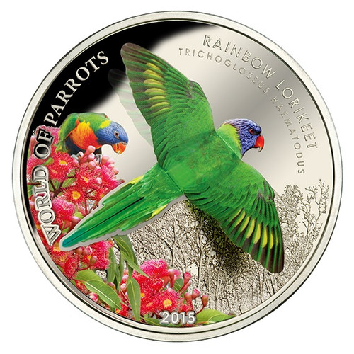 $5 Silver Proof 3D Coin - Rainbow Lorikeet - 2015 Cook Islands