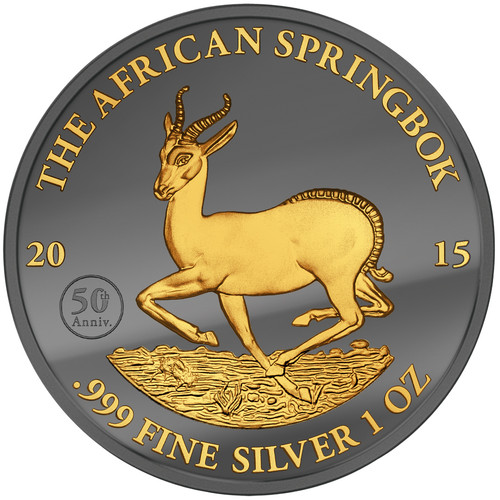 2015 Gabon - Golden Enigma - Springbok- Silver & Ruthenium & Gold Plated Coin