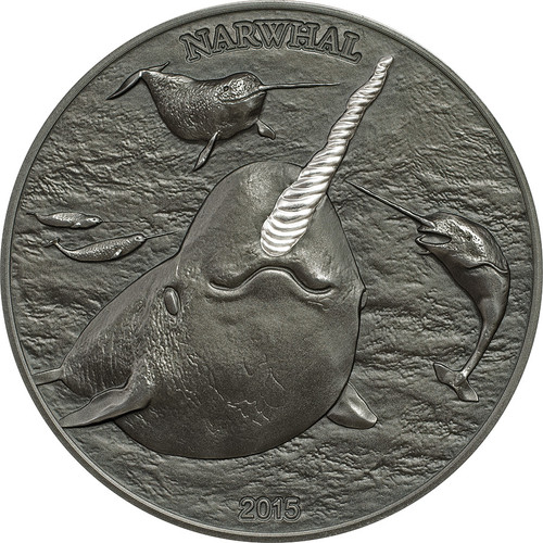 The Narwal - Silver Proof Horn on AF Coin - 1 oz. silver $5 2015 Cook Islands