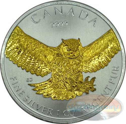 Great Horned Owl #4 in Series GILDED - 2015 Canada 1 oz .9999 Silver Coin