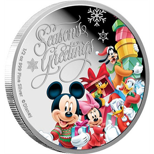 The Mickey Mouse & Friends Seasons Greetings 2015 Niue  Silver  Proof