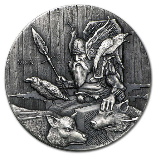 Viking Series~ODIN~ Rimless Antique Silver 2 oz Niue 2015
