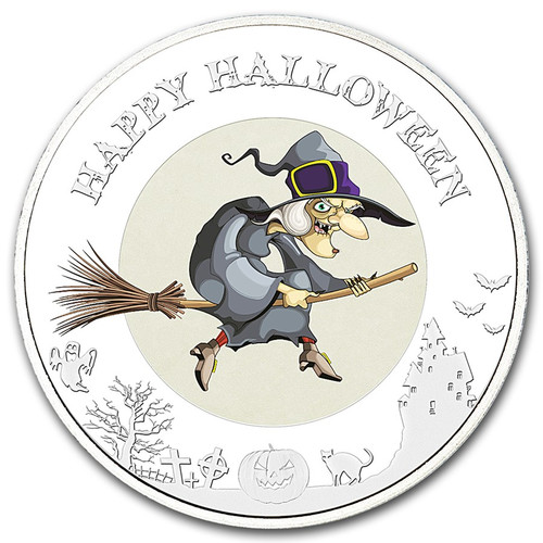 Halloween-Glow In The Dark-The Witch Moon 2015 1 oz Silver Coin