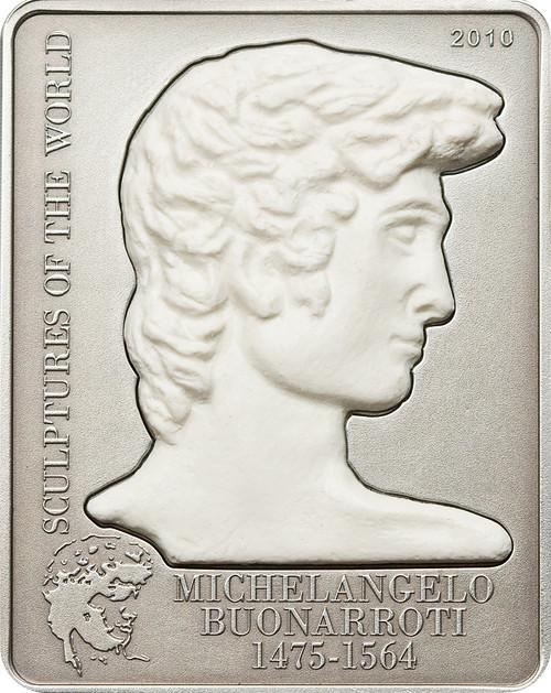 Michelangelo's David Sculpture 5$ Cook Island Silver Coin 2010