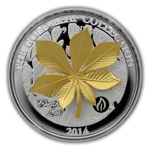 The Gold Leaf Collection - Chesnut Leaf 3D $10 1oz Silver Coin - Samoa 2015