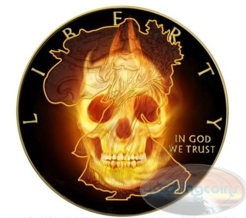 BURNING SKULLS series - Liberty - 2015 1 oz Silver Eagle Coin - Ruthenium&Gold